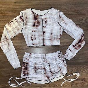 🌷2 For $30🌷Tie-dye Long Sleeve Crop Top 2 Pc Set